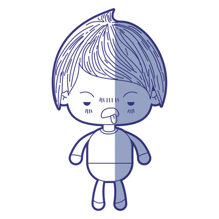 blue shading silhouette of kawaii little boy with unpleasant facial expression vector illustration