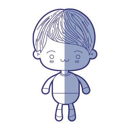 silhouette bleu ombrage de kawaii petit garçon avec expression faciale épuisé illustration vectorielle