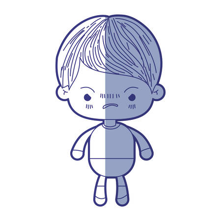 blue shading silhouette of kawaii little boy with facial expression angry vector illustration Illustration