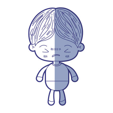 Blue shading silhouette of kawaii little boy with facial expression angry with closed eyes vector illustration