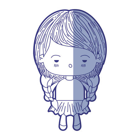unpleasant: blue shading silhouette of kawaii little girl with braided hair and facial expression depressed vector illustration Illustration