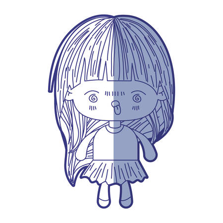 blue shading silhouette of kawaii little girl with long hair and facial expression furious vector illustration
