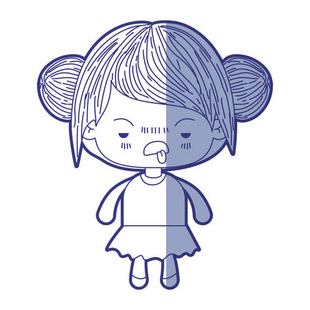 blue shading silhouette of kawaii little girl with collected hair and facial expression unsavory vector illustration
