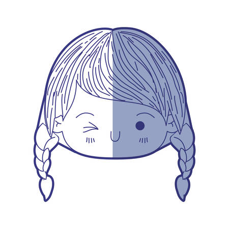 braided: Blue shading silhouette of kawaii head little girl with braided hair and facial expression wink eye vector illustration Illustration