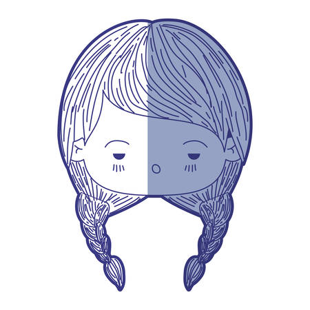 blue shading silhouette of kawaii head little girl with braided hair and facial expression depressed vector illustration Illustration