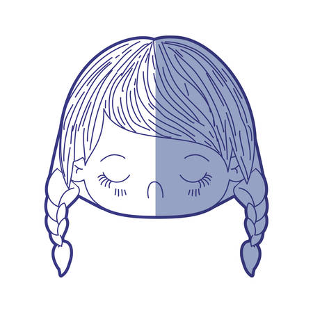 braided: blue shading silhouette of kawaii head little girl with braided hair and facial expression disgust vector illustration Illustration