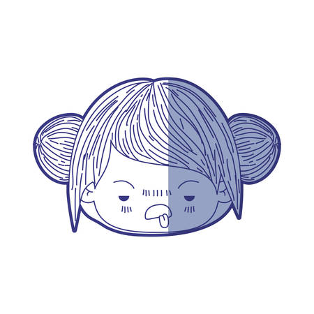 unpleasant: blue shading silhouette of kawaii head little girl with collected hair and facial expression unsavory vector illustration Illustration