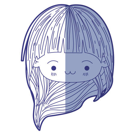 blue shading silhouette of kawaii head little girl with long hair and facial expression exhausted vector illustration Illustration