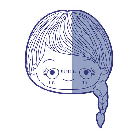 unpleasant: blue shading silhouette of head cute little girl with braided hair and embarrassed facial expression vector illustration