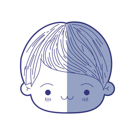 blue shading silhouette of kawaii head of little boy with facial expression exhausted vector illustration