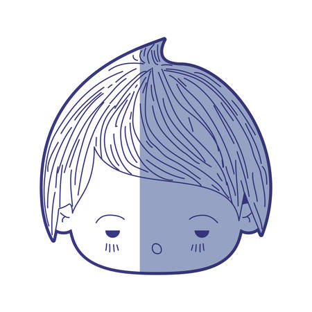 Blue shading silhouette of kawaii head of little boy with facial expression sad vector illustration Illustration