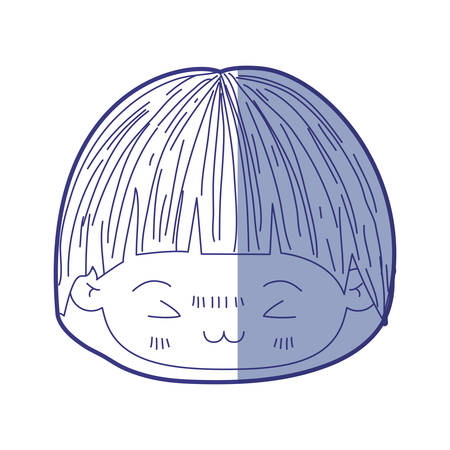 unpleasant: blue shading silhouette of kawaii head of little boy with mushroom hairstyle and facial expression furious vector illustration Illustration