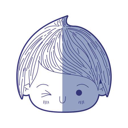 blue shading silhouette of kawaii head of little boy winking eye vector illustration