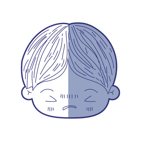 blue shading silhouette of kawaii head of little boy with facial expression angry with closed eyes vector illustration