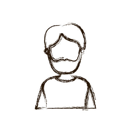 blurred thick silhouette caricature faceless half body man with moustache and beard vector illustration Illustration