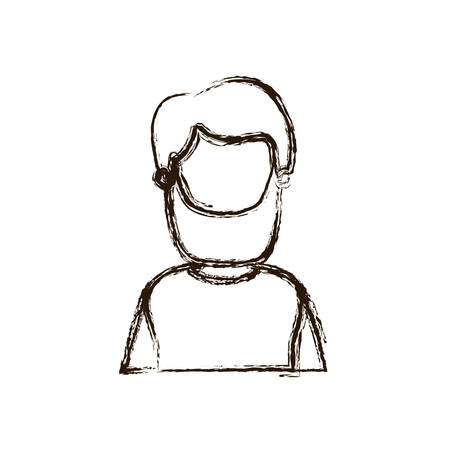 blurred thick silhouette caricature faceless half body bearded man vector illustration Illustration