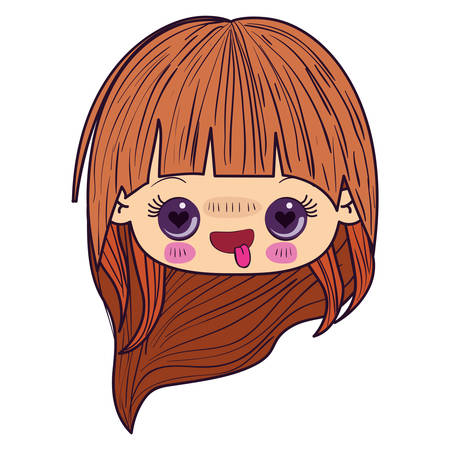 colorful caricature kawaii face little girl with long hair and facial expression enamored vector illustration