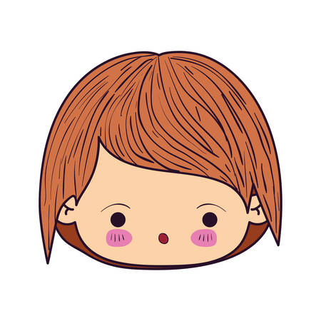 colorful caricature kawaii face little boy with facial expression of surprise vector illustration Illustration