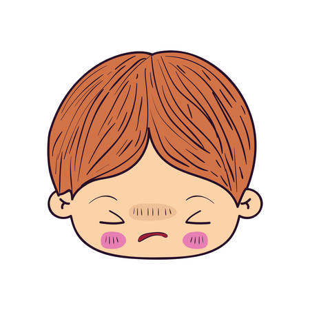 colorful caricature kawaii face little boy with facial expression angry with closed eyes vector illustration
