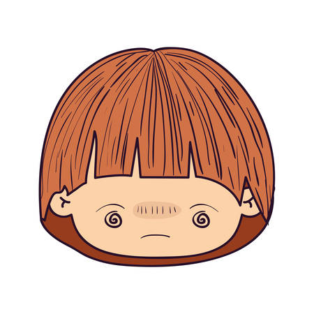 colorful caricature kawaii face little boy with facial expression bored vector illustration