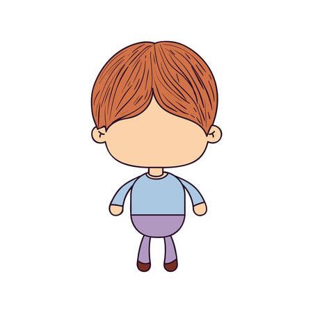 colorful caricature of faceless cute boy with hairstyle vector illustration