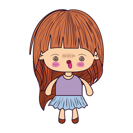 colorful caricature little girl with wavy long hair and facial expression of madness vector illustration Illustration