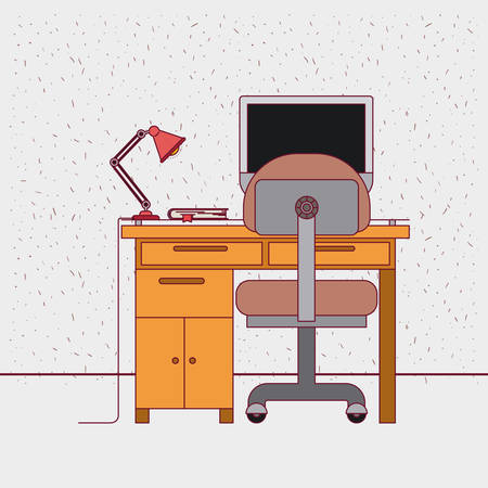 work from home: color background with sparkles and work place home office interior with book vector illustration