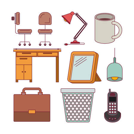 confortable: white background with color silhouette elements office desk set vector illustration