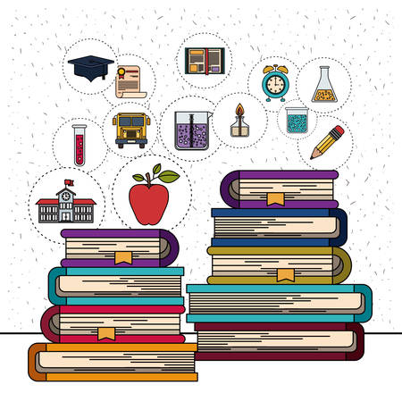 white background with sparkles of stack of books with education element icons vector illustration Illustration