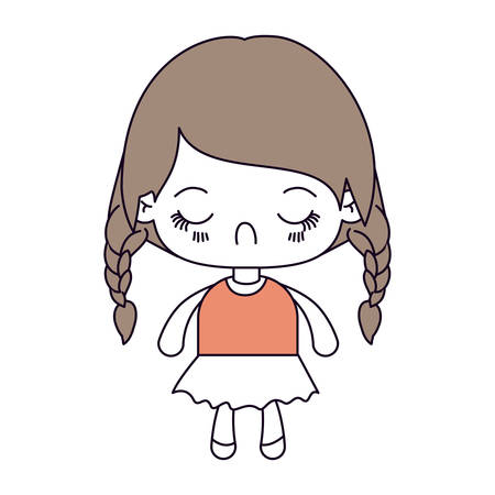 braided: silhouette color sections and light brown hair of kawaii little girl with braided hair and facial expression disgust vector illustration Illustration