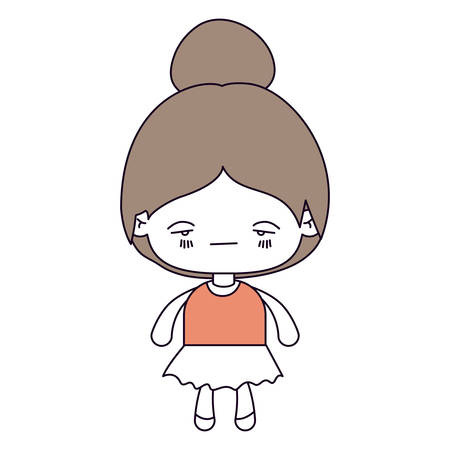 sad little girl: silhouette color sections and light brown hair of kawaii little girl with collected hair and facial expression sad vector illustration Illustration