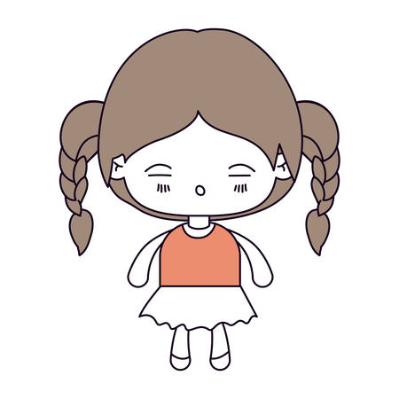 silhouette color sections and light brown hair of kawaii little girl with braided hair and facial expression tired vector illustration