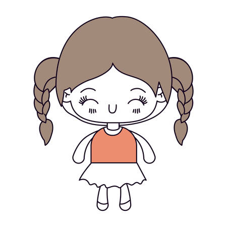 braided: silhouette color sections and light brown hair of kawaii little girl with braided hair and facial expression happiness with closed eyes vector illustration