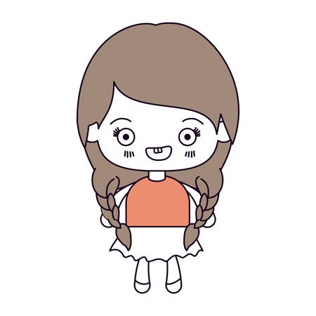 braided: silhouette color sections and light brown hair of kawaii cute little girl with braided hair and smiling vector illustration