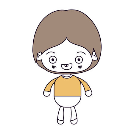 pelo castaño claro: silhouette color sections and light brown hair of kawaii little boy smiling vector illustration