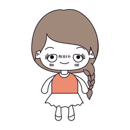 unpleasant: silhouette color sections and light brown hair of kawaii cute little girl with braided hair and embarrassed facial expression vector illustration