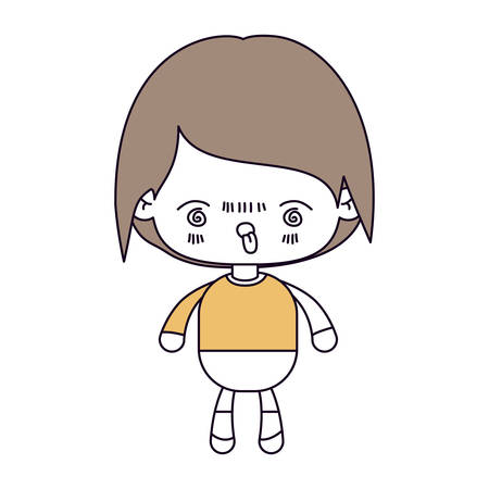 unpleasant: silhouette color sections and light brown hair of kawaii little boy with facial expression furious vector illustration Illustration