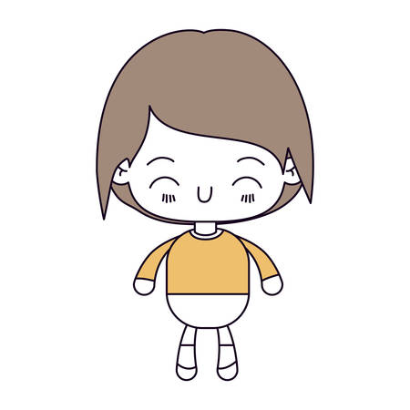 silhouette color sections and light brown hair of kawaii little boy with happiness facial expression vector illustration