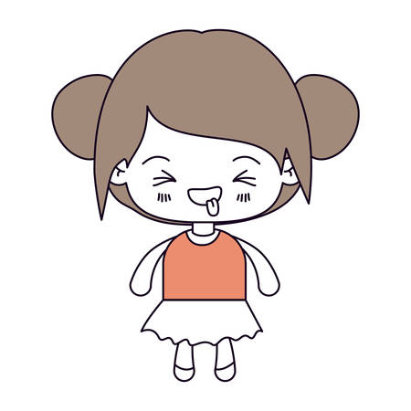 unpleasant: silhouette color sections and light brown hair of kawaii little girl with collected hair and facial expression unpleasant vector illustration Illustration