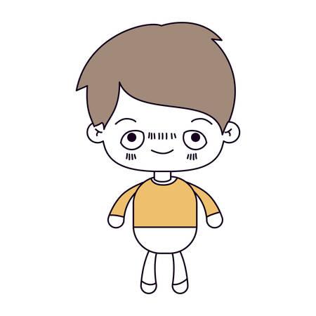sections de la couleur de la silhouette et les cheveux bruns clairs du kawaii petit garçon avec une illustration vectorielle embarrassée expression faciale