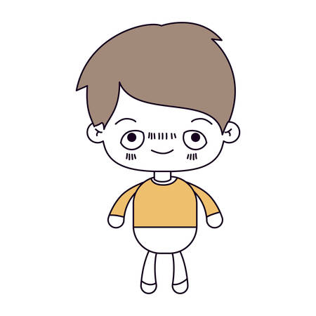 silhouette color sections and light brown hair of kawaii little boy with embarrassed facial expression vector illustration