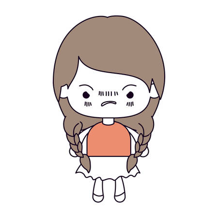 unpleasant: silhouette color sections and light brown hair of kawaii little girl with braided hair and facial expression angry vector illustration