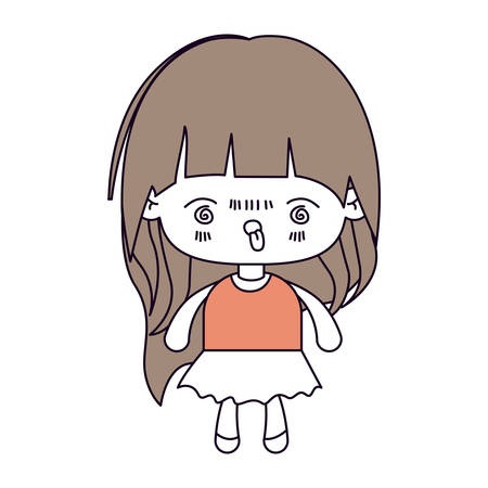 unpleasant: silhouette color sections and light brown hair of kawaii little girl with long hair and facial expression furious vector illustration