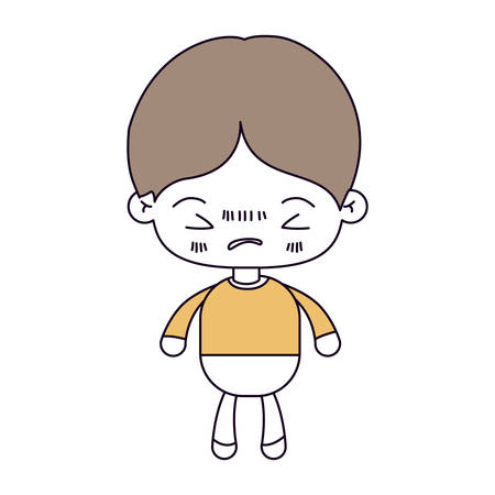 silhouette color sections and light brown hair of kawaii little boy with facial expression angry with closed eyes vector illustration