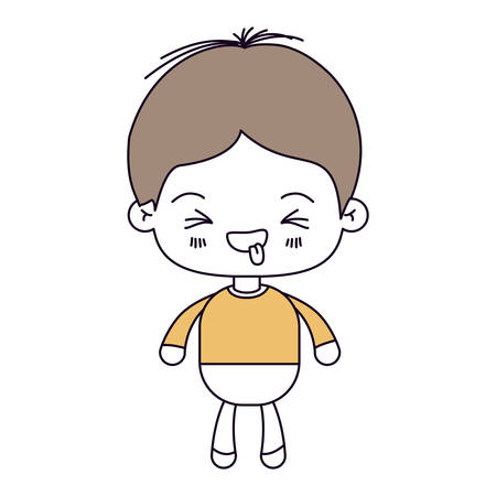 silhouette color sections and light brown hair of kawaii little boy with facial expression funny with closed eyes vector illustration Illustration