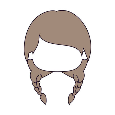 silhouette color sections and light brown hair of faceless head of little girl with two braids hairstyle vector illustration Illustration