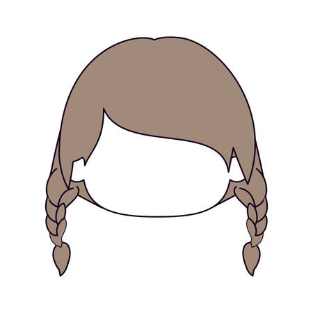 braided: silhouette color sections and light brown hair of faceless head of little girl with braided hair vector illustration