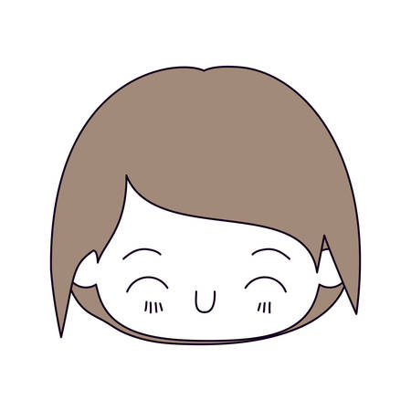 silhouette color sections and light brown hair of kawaii head of little boy with happiness facial expression in close up vector illustration Illustration