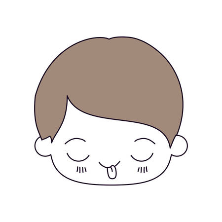 silhouette color sections and light brown hair of kawaii head of little boy with funny facial expression in closeup vector illustration