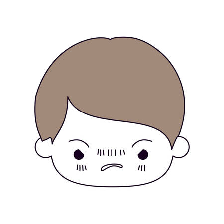 silhouette color sections and light brown hair of kawaii head of little boy with facial expression angry vector illustration Illustration